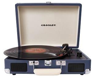 """Crosley Plattenspieler - Crosley Cruiser Turntable Tragbarer Schallplattenspieler mit eingebauten Stereo-Lautsprechern im """"Aktenkoffer""""-Design mit EU Netzstecker - Blau"""