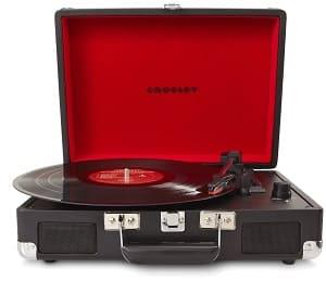 """Crosley Plattenspieler - Crosley Cruiser Turntable Tragbarer Schallplattenspieler mit eingebauten Stereo-Lautsprechern im """"Aktenkoffer""""-Design mit EU Netzstecker - Schwarz"""