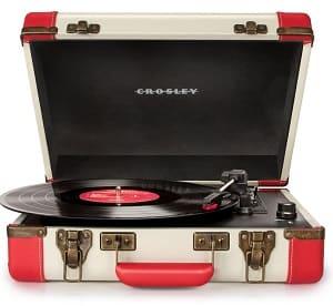 """Crosley Plattenspieler - Crosley CR6019A-RD Executive Turntable Plattenspieler im """"Aktenkoffer Design"""" mit drei Geschwindigkeiten und eingebauten Stereolautsprechern, USB-fähig, AC-Netzadapter (UK)"""