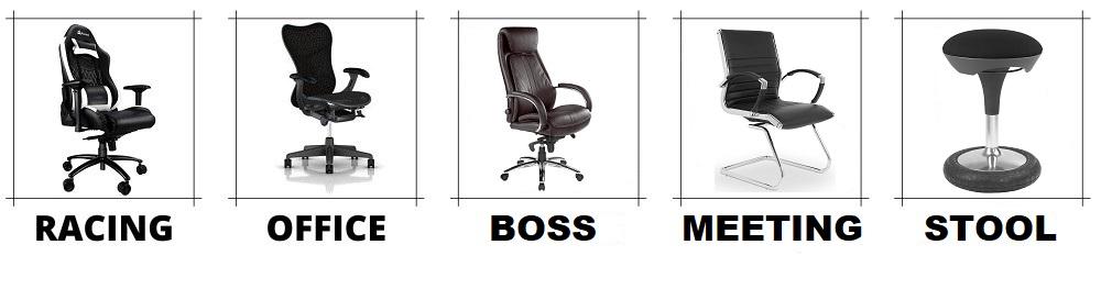 Stile von Bürostühlen